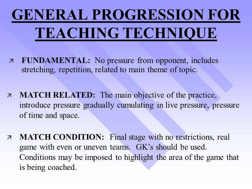 GENERAL PROGRESSION FOR TEACHING TECHNIQUE