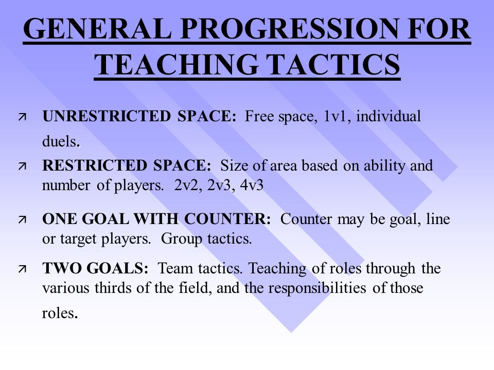 GENERAL PROGRESSION FOR TEACHING TACTICS
