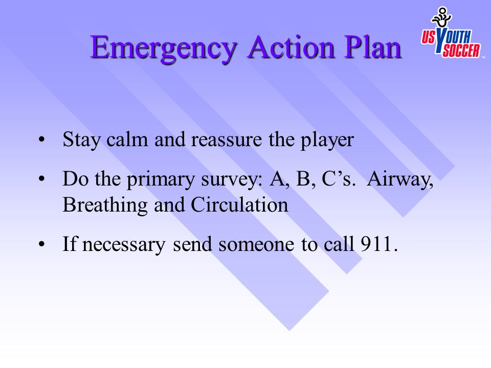 Emergency Action Plan Stay calm and reassure the player
