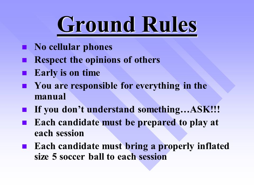 Ground Rules No cellular phones Respect the opinions of others