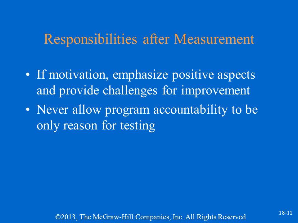 Responsibilities after Measurement