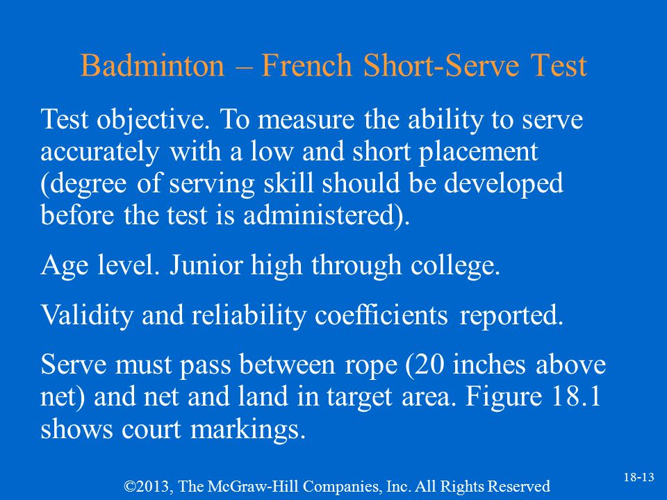 Badminton – French Short-Serve Test