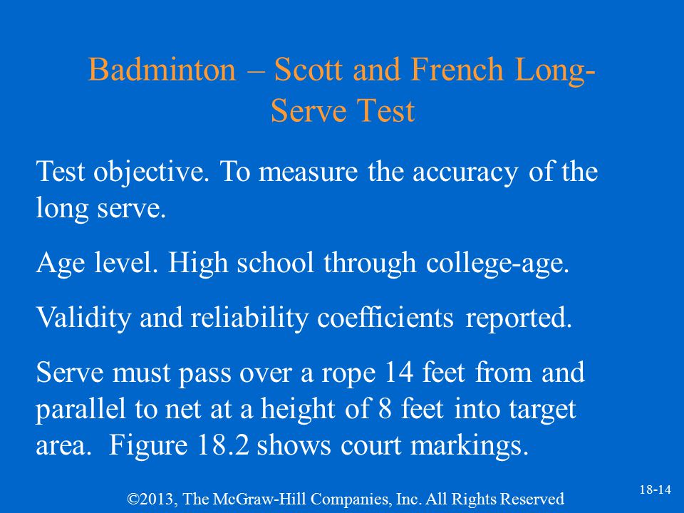 Badminton – Scott and French Long-Serve Test