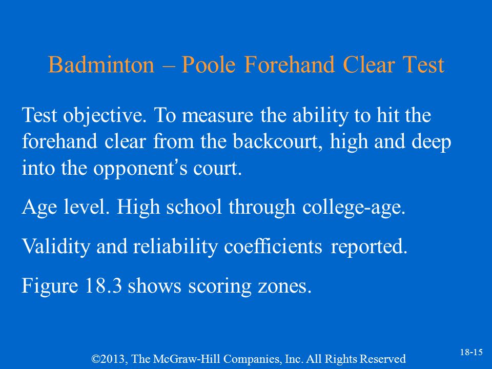 Badminton – Poole Forehand Clear Test