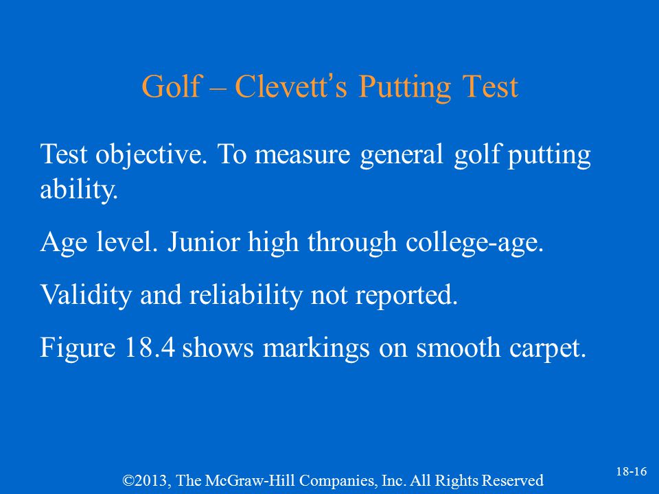 Golf – Clevett's Putting Test
