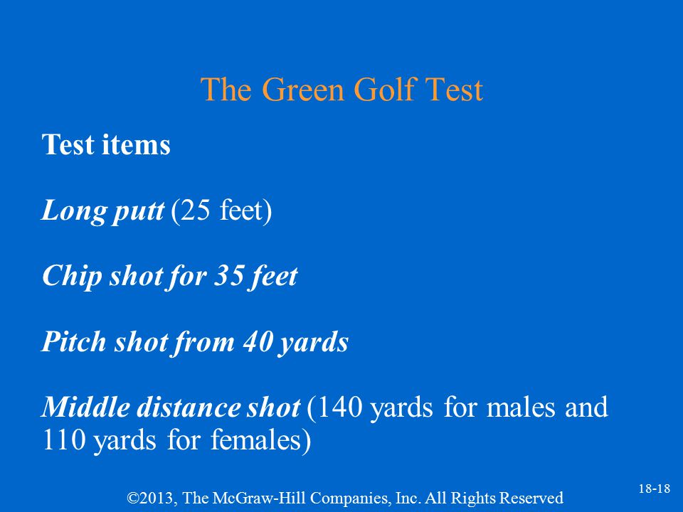 The Green Golf Test Test items Long putt (25 feet)