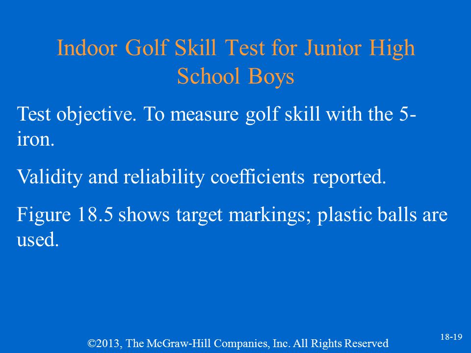 Indoor Golf Skill Test for Junior High School Boys