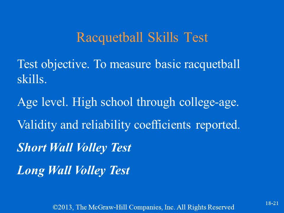 Racquetball Skills Test