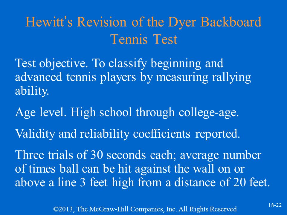 Hewitt's Revision of the Dyer Backboard Tennis Test