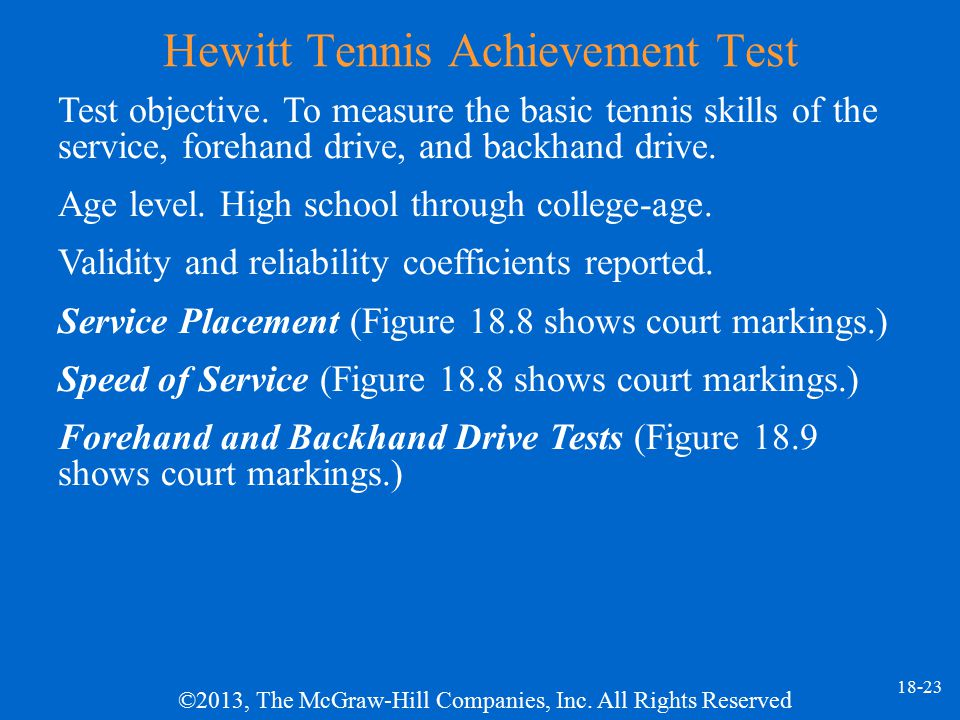 Hewitt Tennis Achievement Test