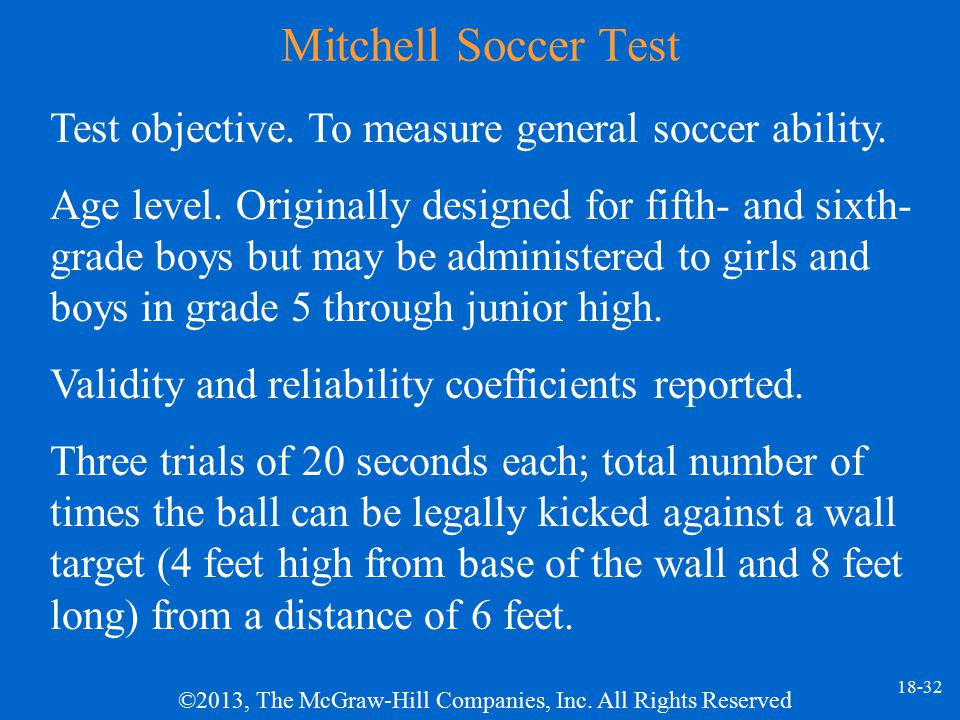 Mitchell Soccer Test Test objective. To measure general soccer ability.
