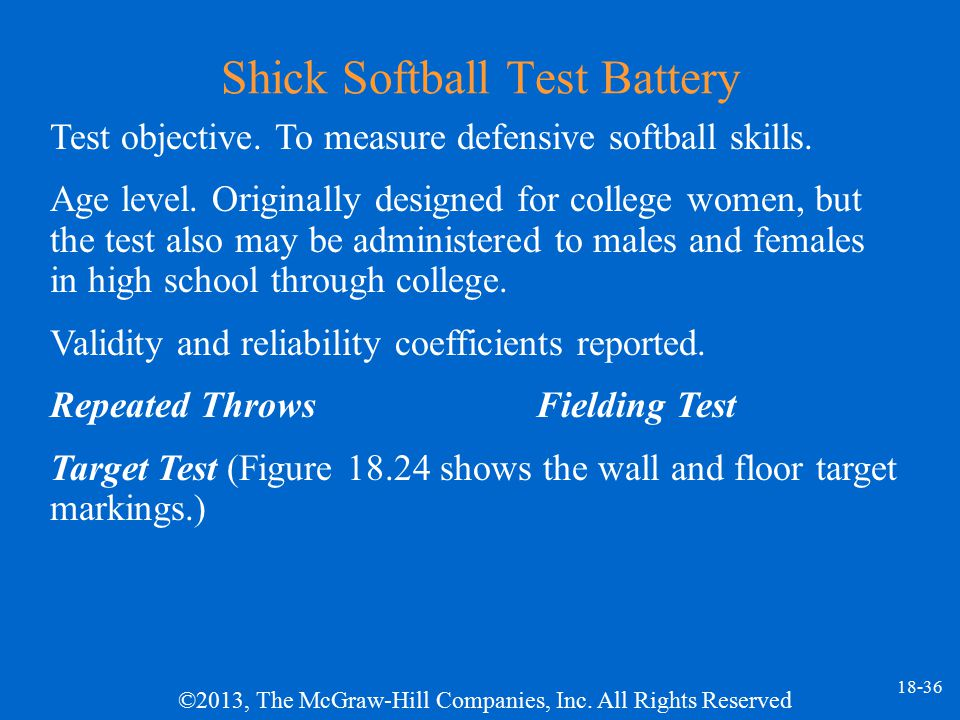 Shick Softball Test Battery