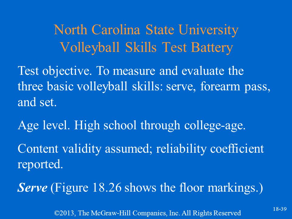 North Carolina State University Volleyball Skills Test Battery