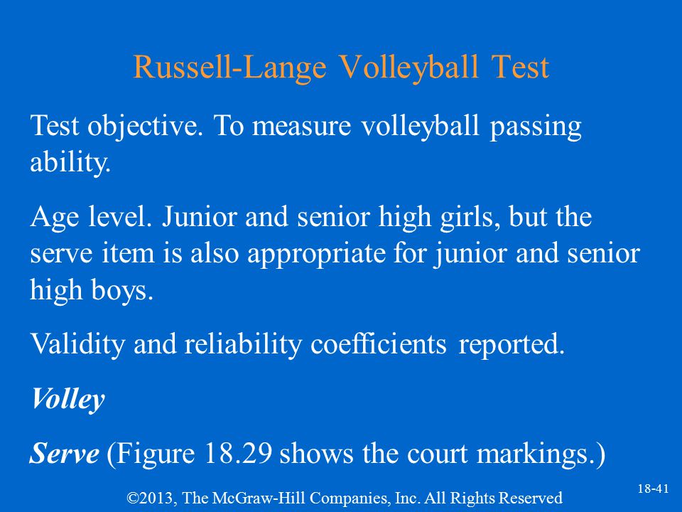 Russell-Lange Volleyball Test