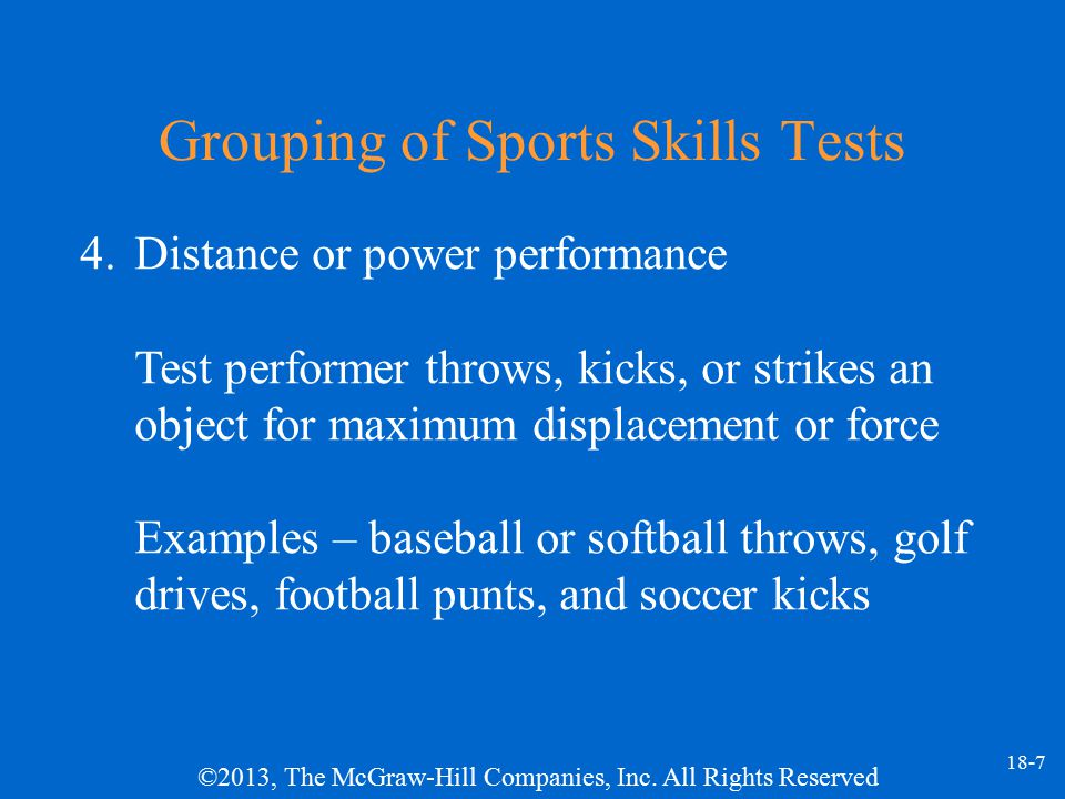 Grouping of Sports Skills Tests