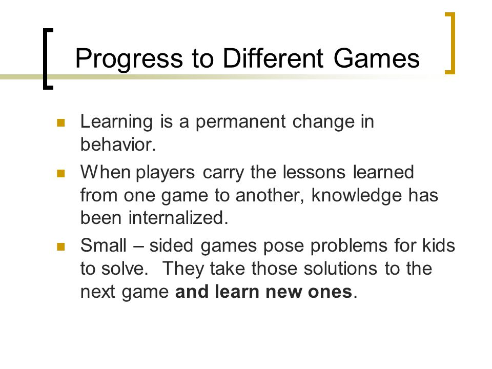 Progress to Different Games