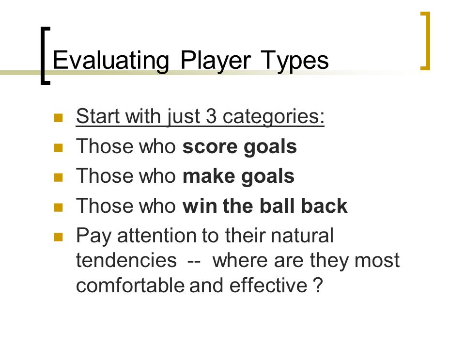 Evaluating Player Types