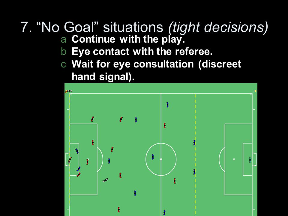 7. No Goal situations (tight decisions)