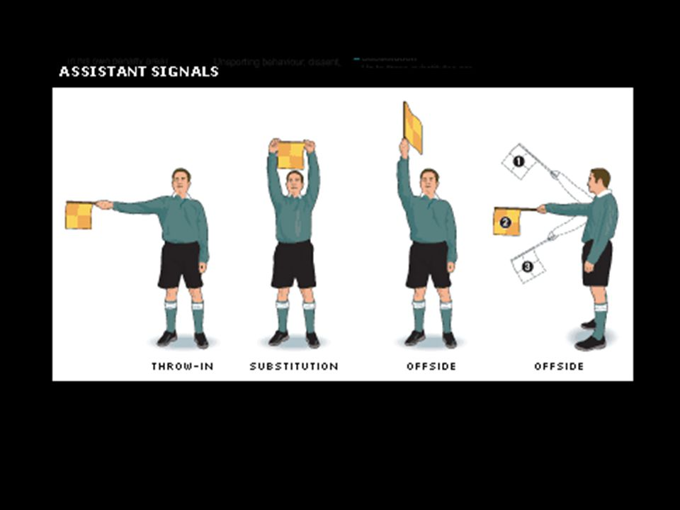 Which ones are missing. Next slide hidden are attention ref, goal kick, and corner kick.