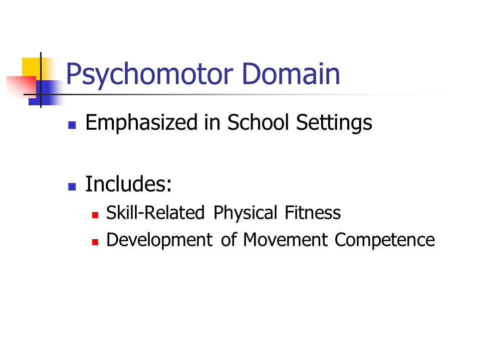 Psychomotor Domain Emphasized in School Settings Includes: