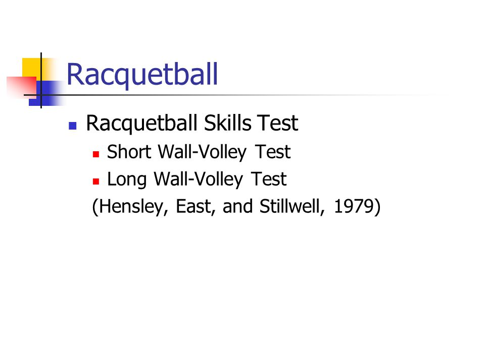 Racquetball Racquetball Skills Test Short Wall-Volley Test