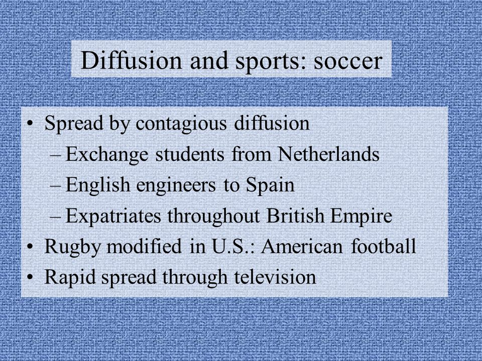 Diffusion and sports: soccer