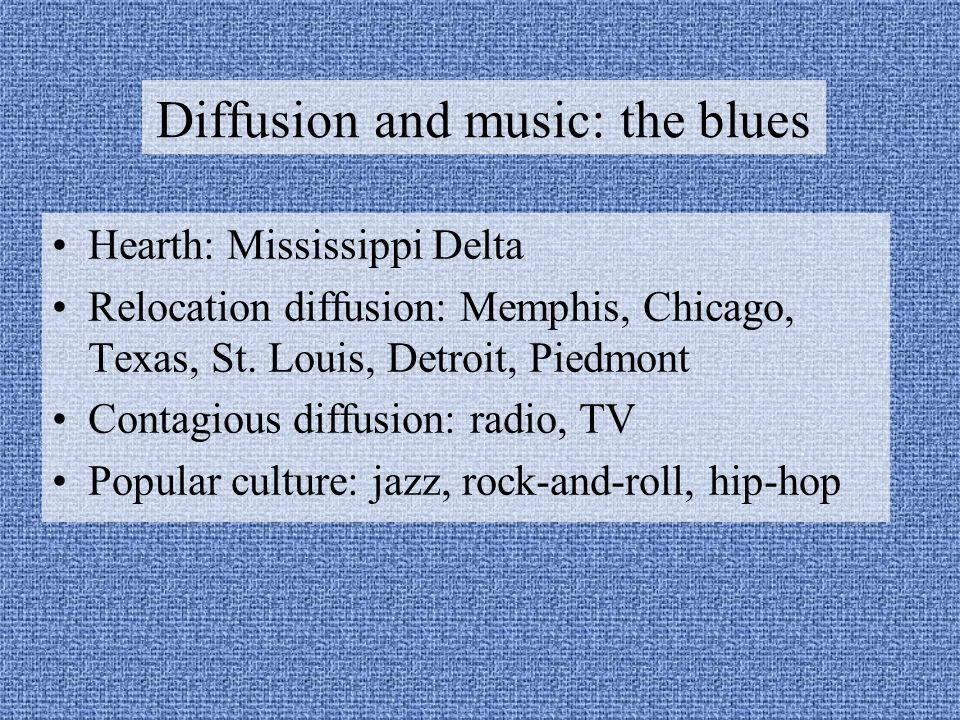 Diffusion and music: the blues