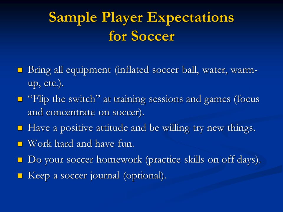Sample Player Expectations for Soccer