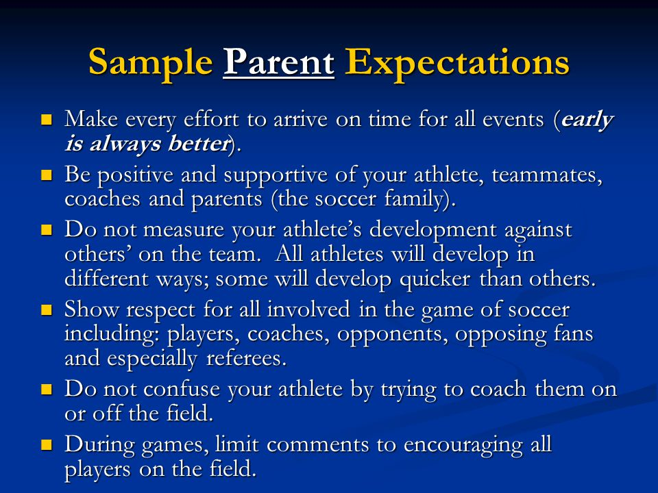 Sample Parent Expectations