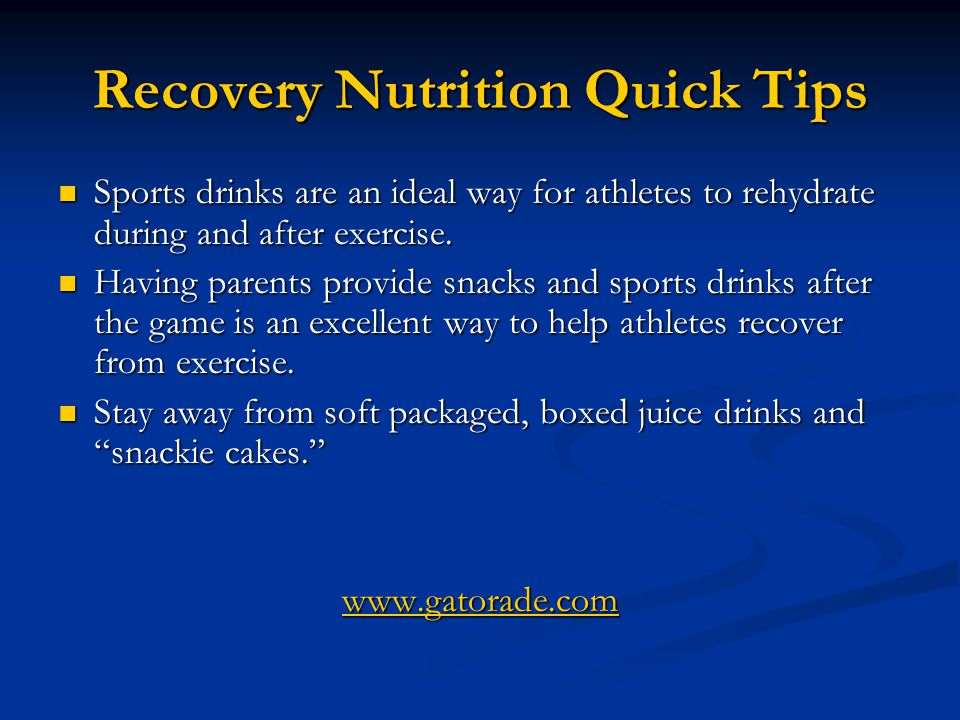 Recovery Nutrition Quick Tips