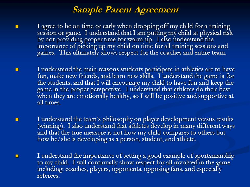 Sample Parent Agreement