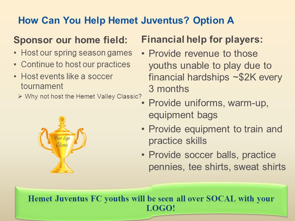 How Can You Help Hemet Juventus Option A