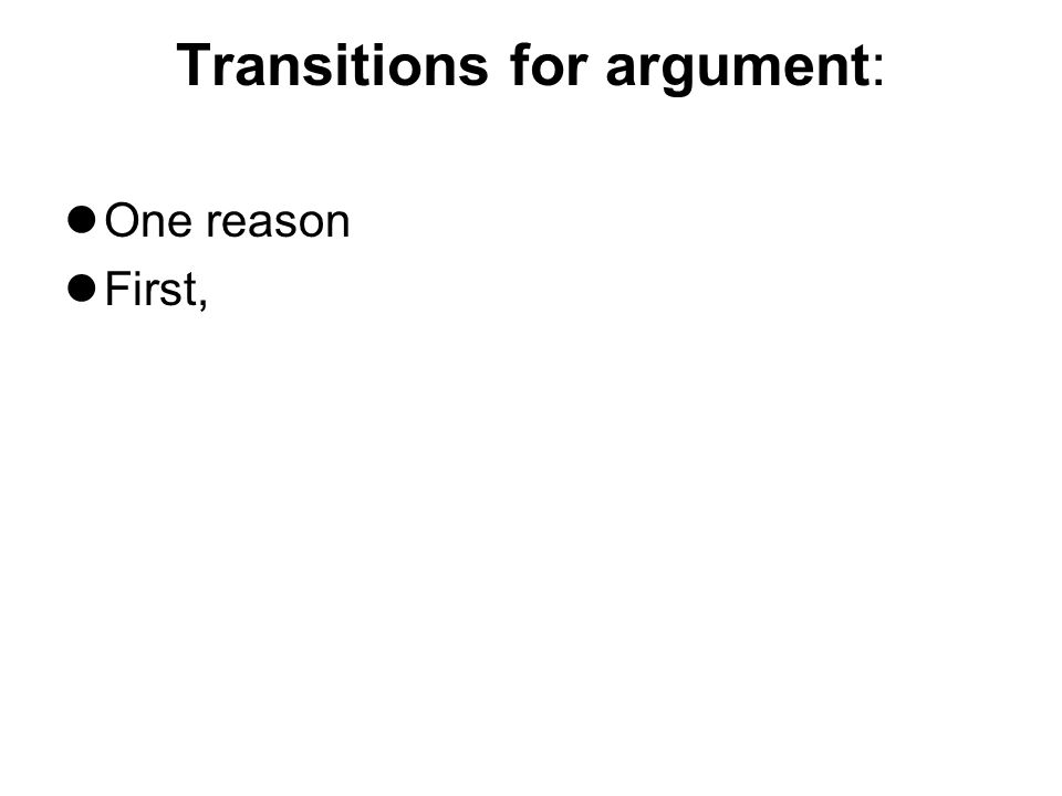 Transitions for argument: