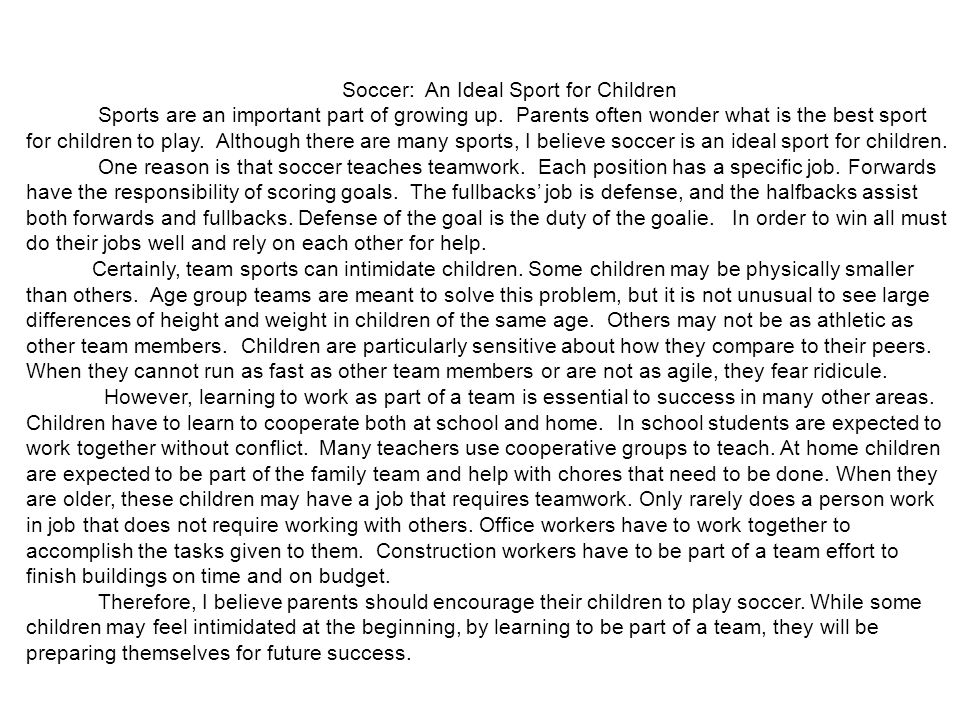Soccer: An Ideal Sport for Children