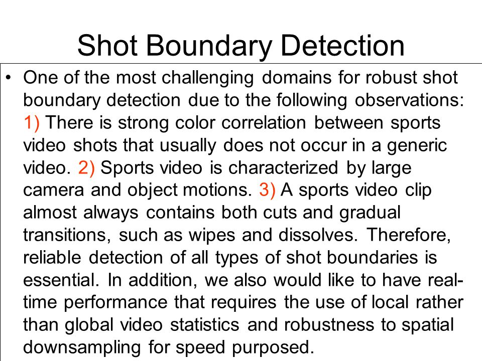 Shot Boundary Detection