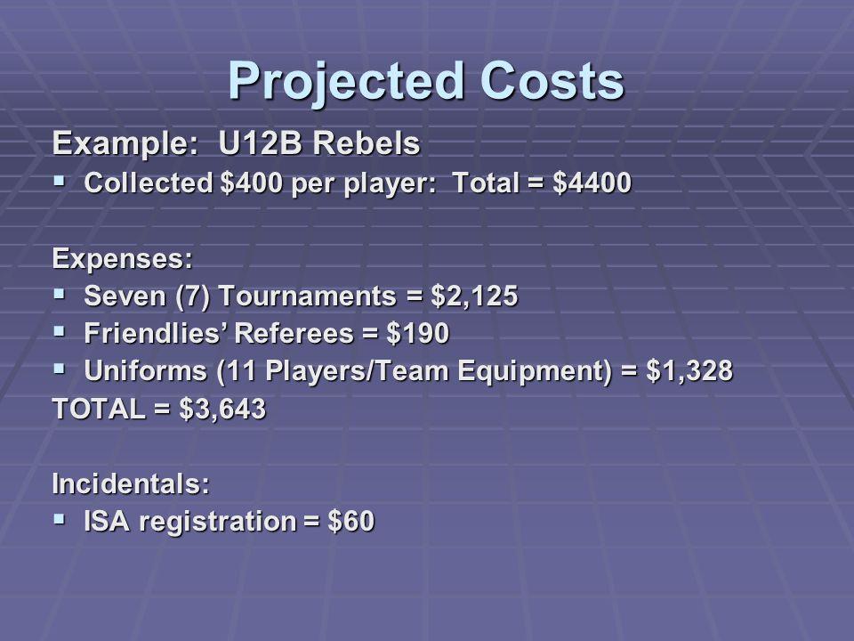 Projected Costs Example: U12B Rebels