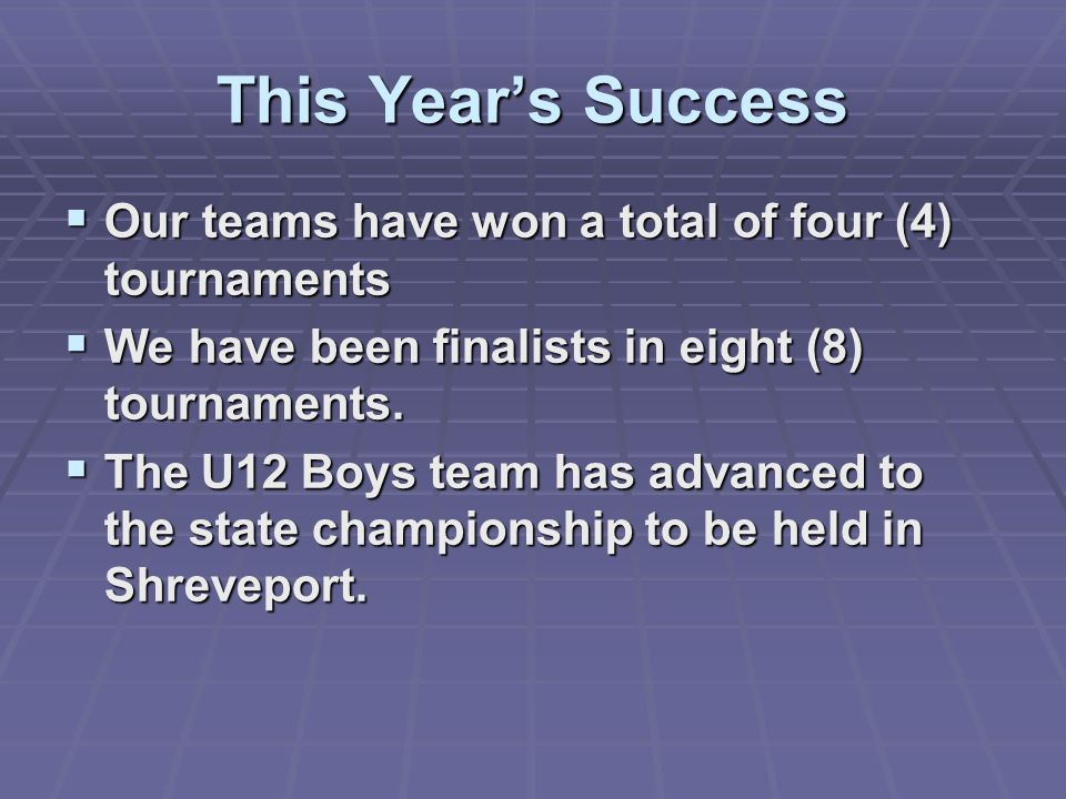This Year's Success Our teams have won a total of four (4) tournaments