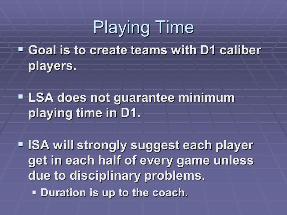 Playing Time Goal is to create teams with D1 caliber players.