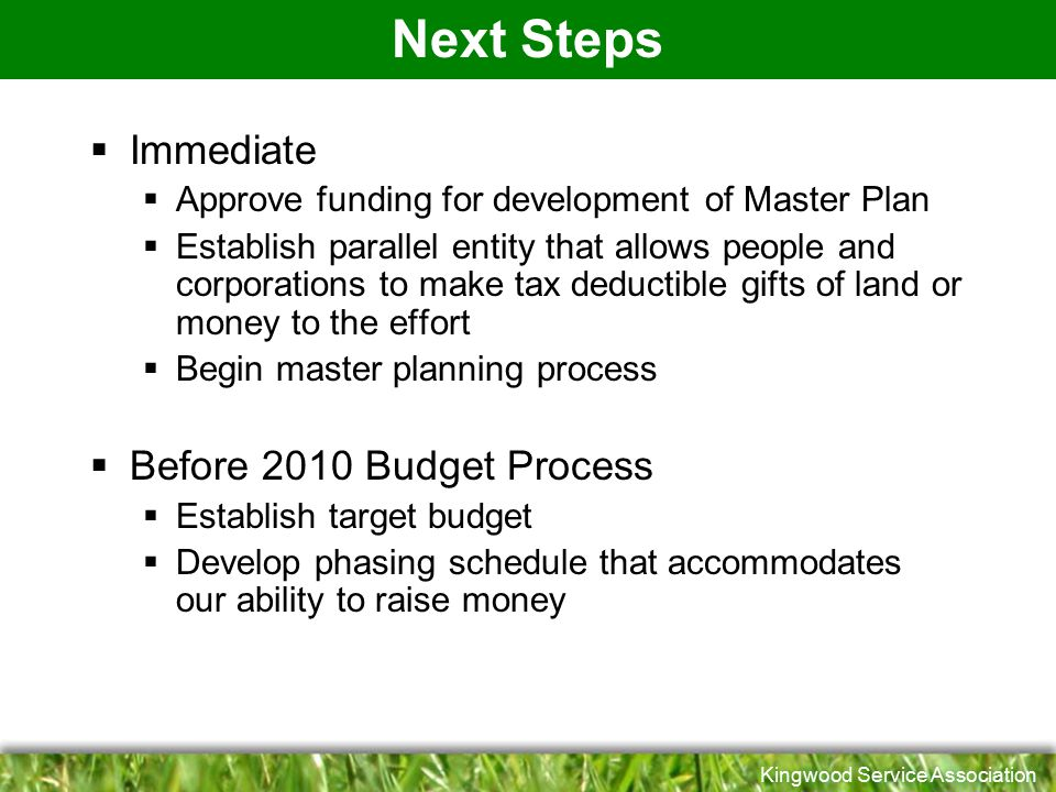 Next Steps Immediate Before 2010 Budget Process