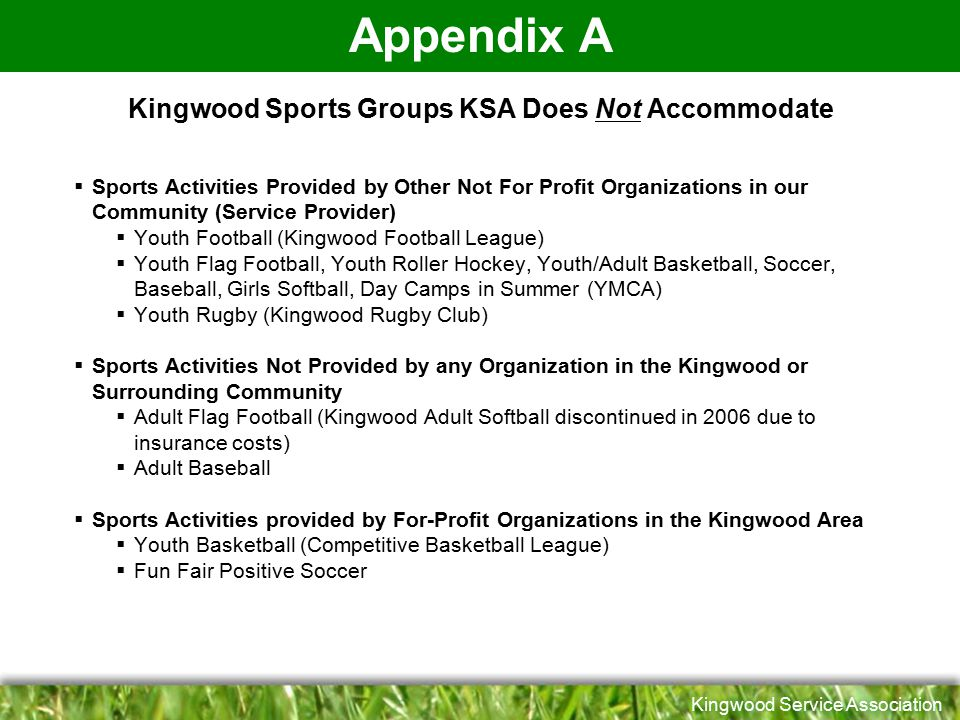 Kingwood Sports Groups KSA Does Not Accommodate