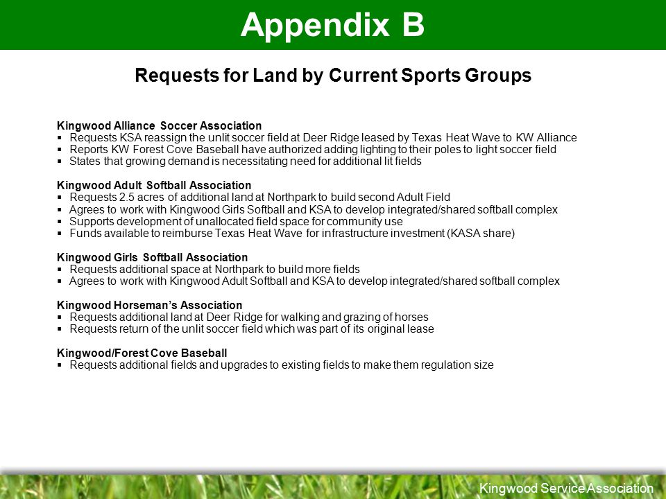 Requests for Land by Current Sports Groups