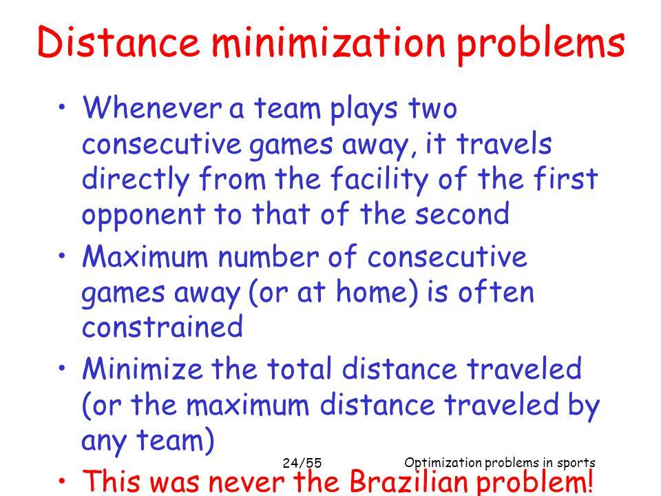 Distance minimization problems