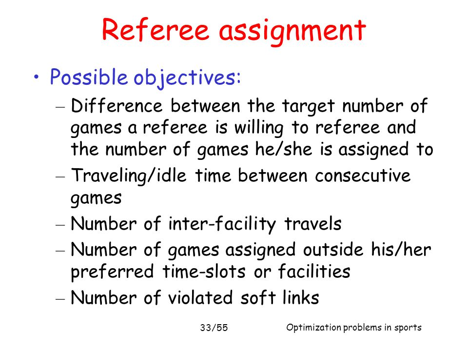 Referee assignment Possible objectives:
