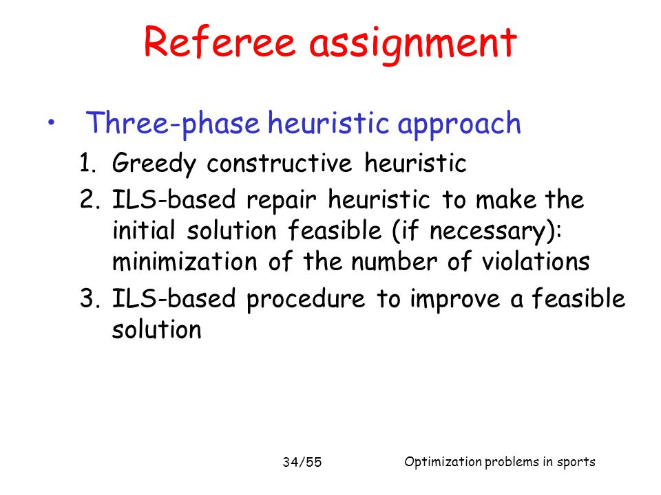 Referee assignment Three-phase heuristic approach