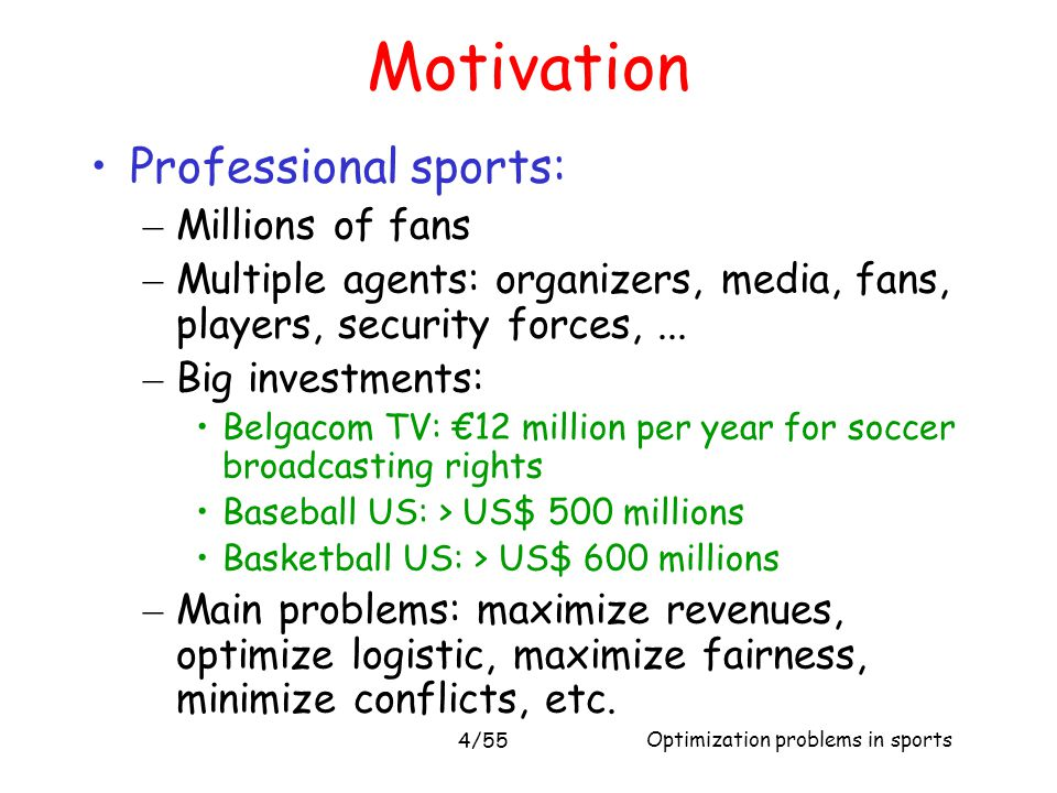 Motivation Professional sports: Millions of fans