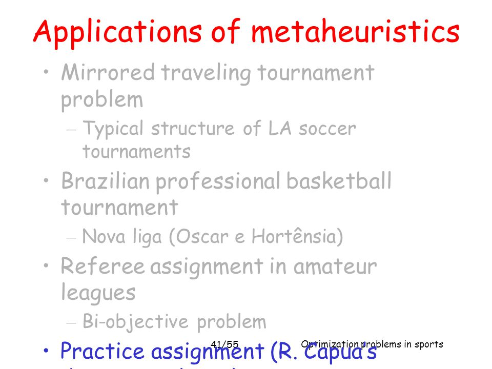 Applications of metaheuristics