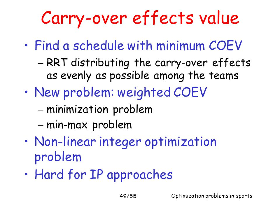 Carry-over effects value