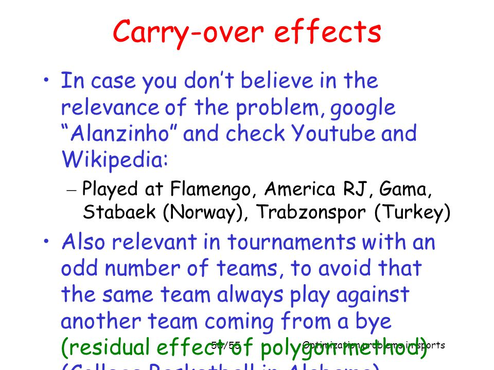 Carry-over effects In case you don't believe in the relevance of the problem, google Alanzinho and check Youtube and Wikipedia: