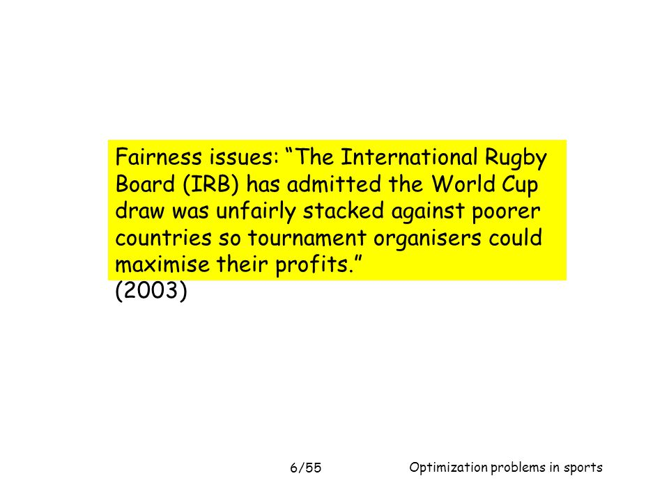 Fairness issues: The International Rugby Board (IRB) has admitted the World Cup draw was unfairly stacked against poorer countries so tournament organisers could maximise their profits.