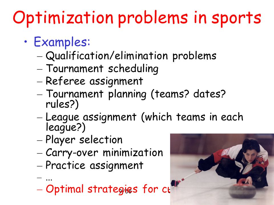 Optimization problems in sports